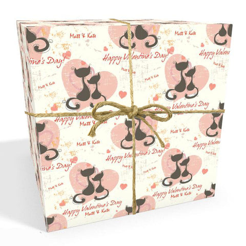 Cats Valentines Day Personalised Wrapping Paper