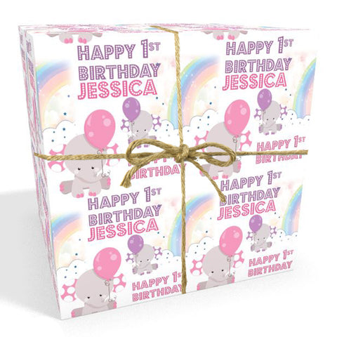 Baby's First Birthday Personalised Pink Elephant Wrapping Paper