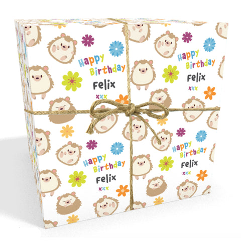 Hedgehogs Personalised Birthday Wrapping Paper