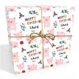 Pigs Personalised Christmas Wrapping Paper