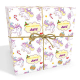 Unicorn Cartoon Personalised Christmas Wrapping Paper In Pink (2)