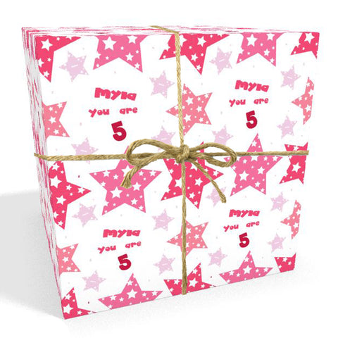 Happy Birthday Pink Stars Personalised Wrapping Paper- Add A Name and Age