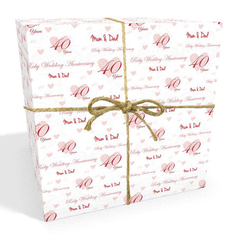 Ruby 40 Year Wedding Anniversary Personalised Wrapping Paper