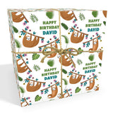 Sloth Personalised Birthday Wrapping Paper