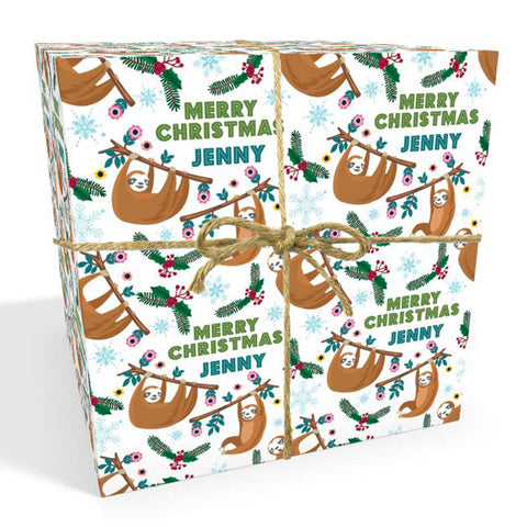 Sloth Personalised Christmas Wrapping Paper