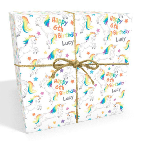 Unicorn with Rainbow Hair Personalised Birthday Wrapping Paper