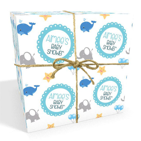Blue Whale Personalised Baby Shower Wrapping Paper