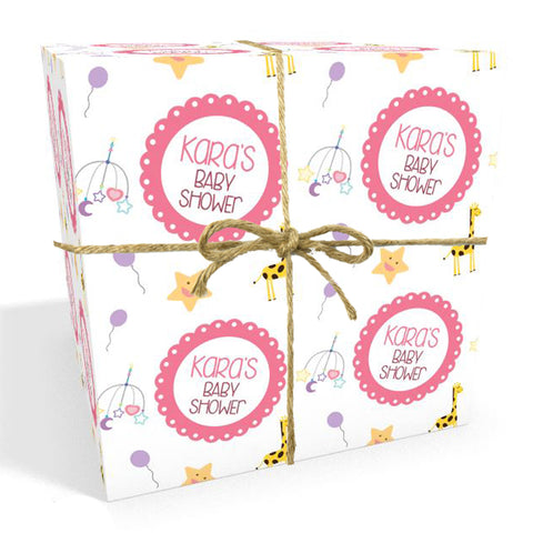 Personalised Baby Shower Wrapping Paper in Pink