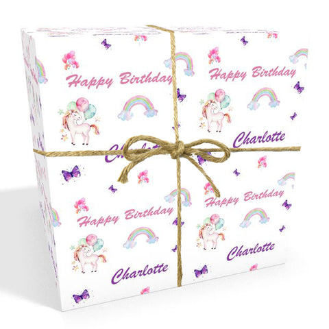 Unicorns Rainbows & Balloons Personalised Birthday Wrapping Paper
