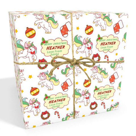 Unicorn Cartoon Personalised Christmas Wrapping Paper In Red (1)