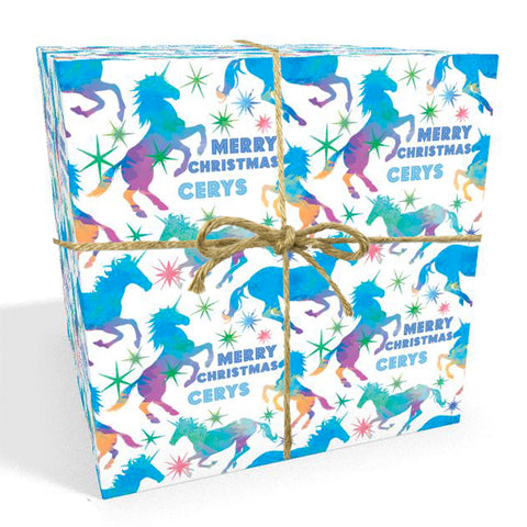 Unicorn Watercolour Personalised Christmas Wrapping Paper