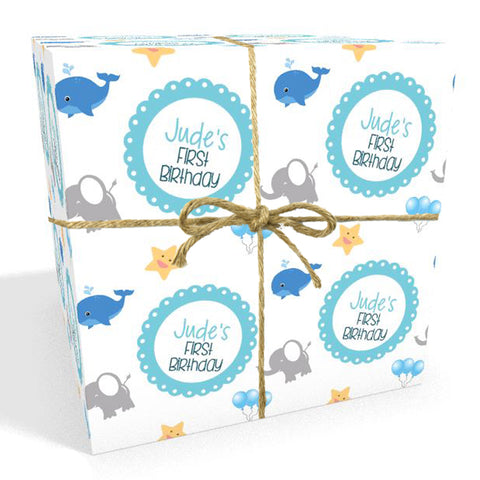 Baby's First Birthday Personalised Whales Wrapping Paper
