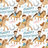 Horse Riding Personalised Christmas Wrapping Paper