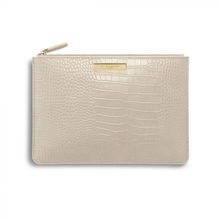 Celine Croc Perfect Pouch Oyster