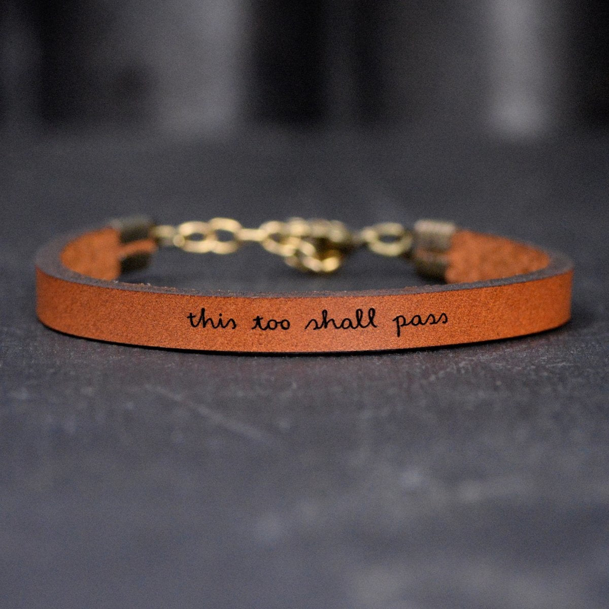 This Too Shall Pass Brown Leather Bracelet - Standard