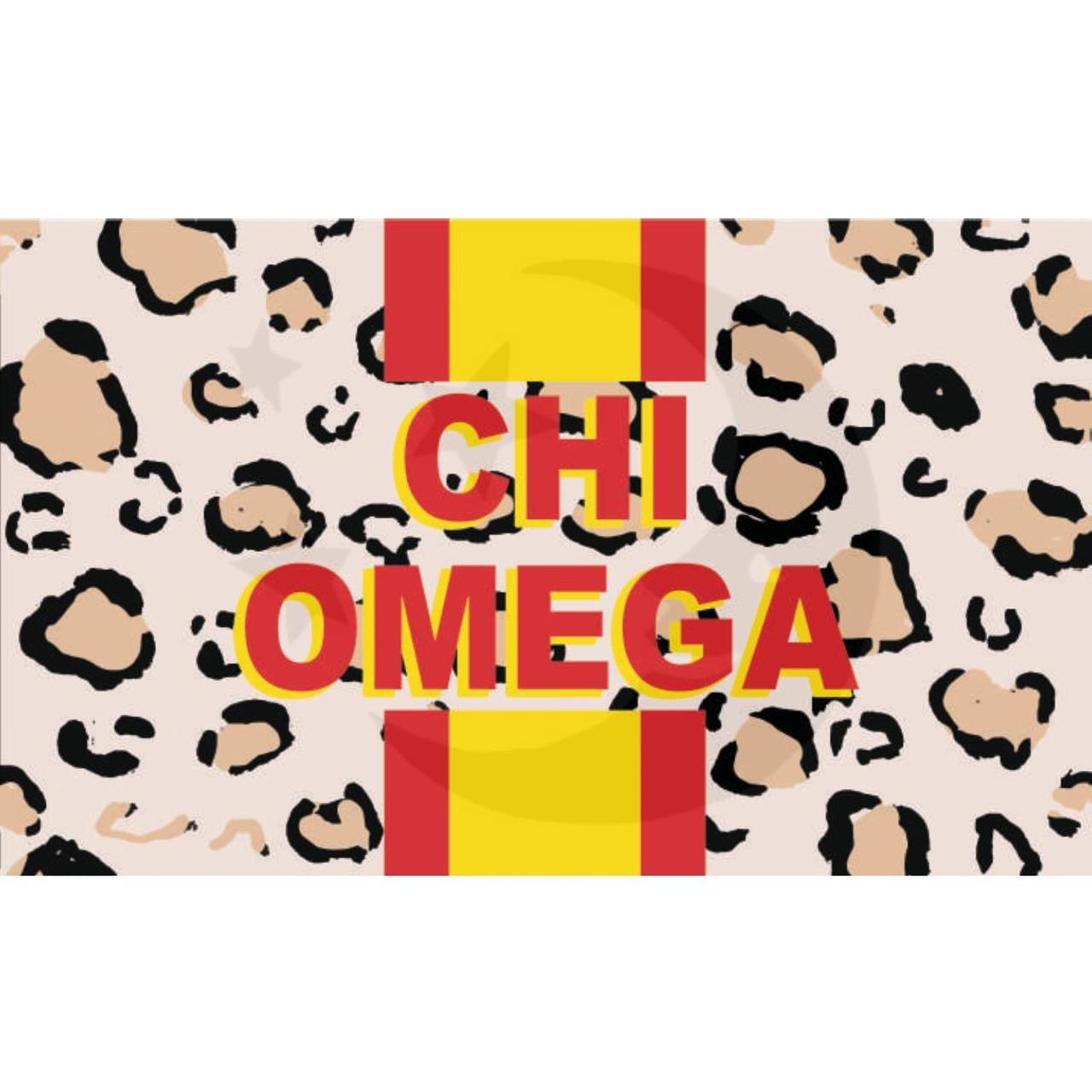 Chi Omega Cheetah Flag 3'X5'