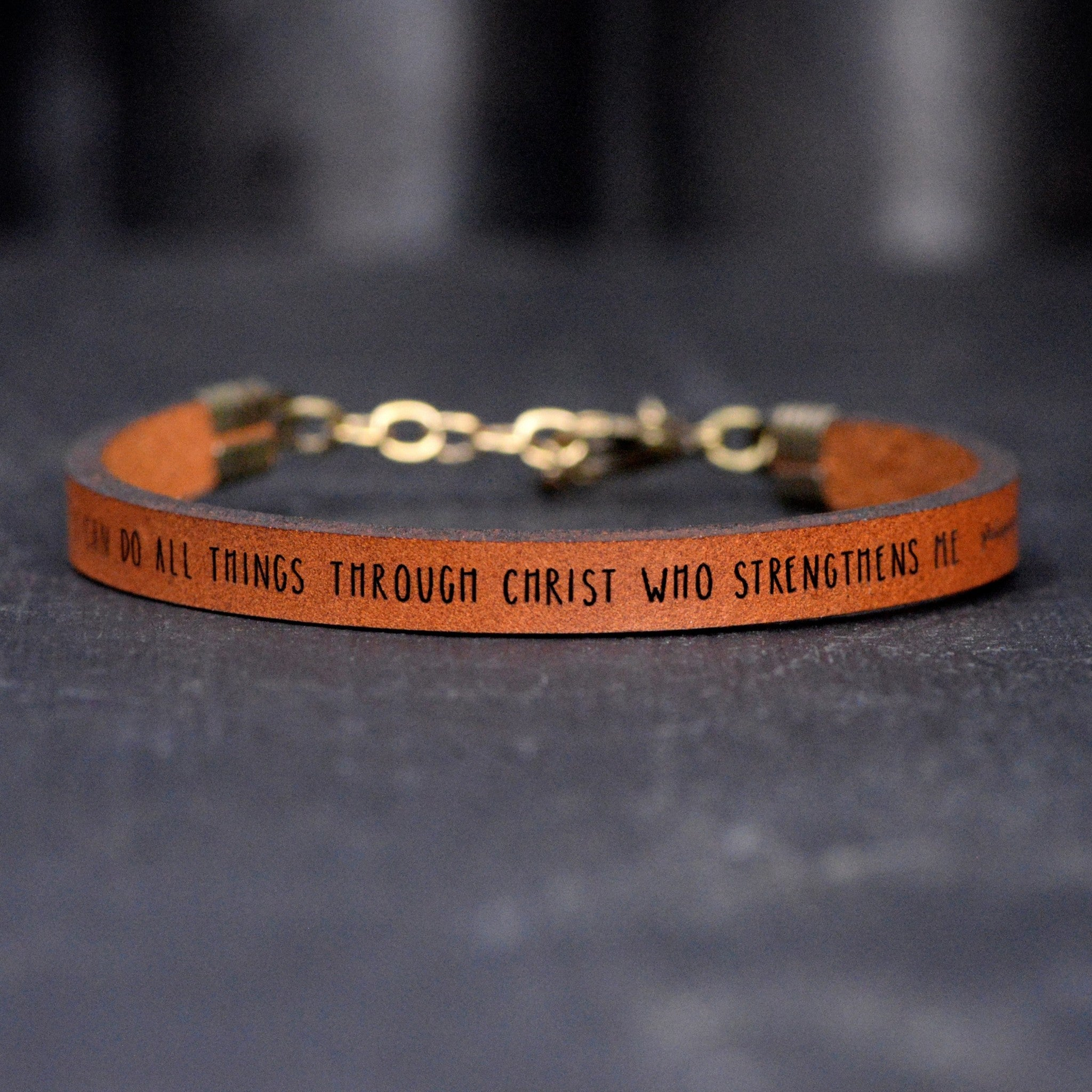 I Can Do All... Brown Leather Bracelet - Child
