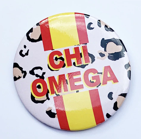 Chi Omega Cheetah Button 3""