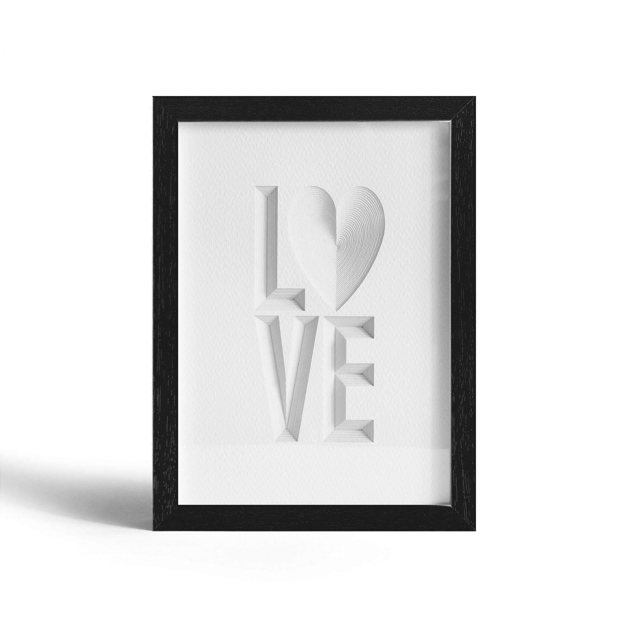 Typography art LOVE, Paper Art  IDEAL GIFTS A5 Frame