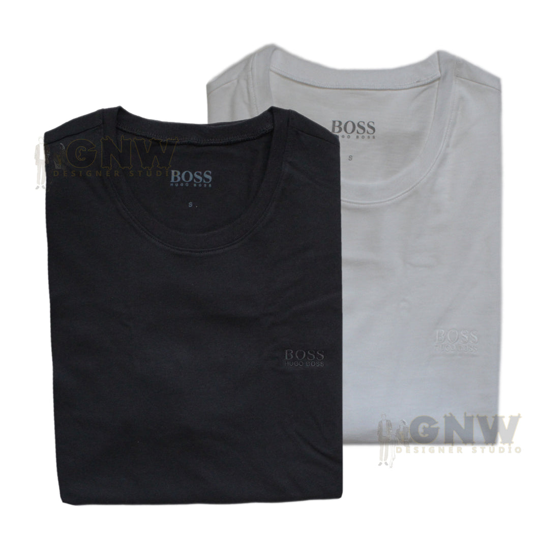 Hugo Boss Men's Plain Crew Neck Short Sleeve T Shirt Black/ White 2 Pack