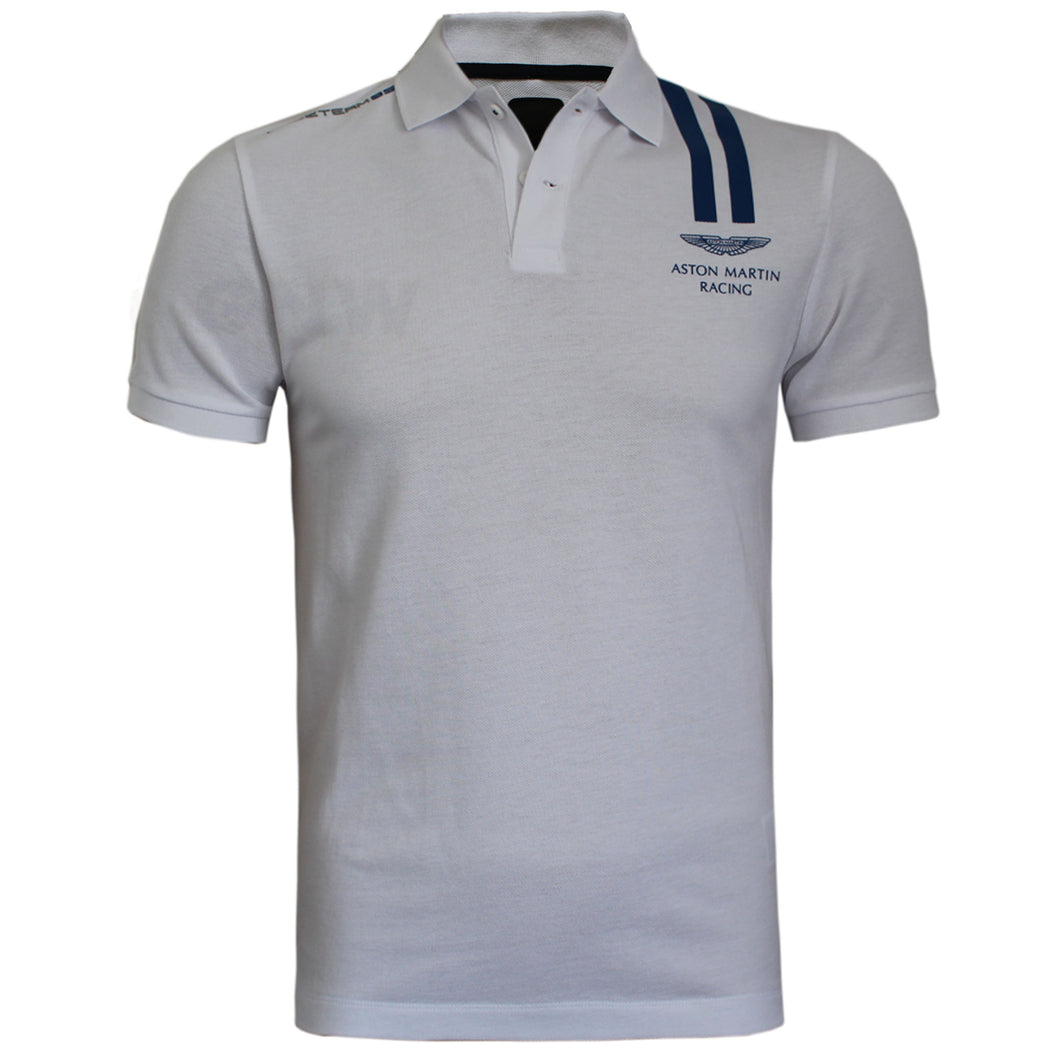 Hackett Men Aston Martin Racing Vertical Stripe Polo Shirt Slim Fit White Two Blue Lines