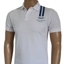 Load image into Gallery viewer, Hackett Men Aston Martin Racing Vertical Stripe Polo Shirt Slim Fit White Two Blue Lines