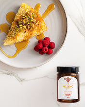 Load image into Gallery viewer, Hellenic Gift Special Reserve Honey with Pistachio Cake and Raspberries