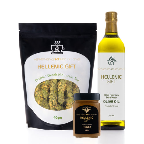 The Hellenic Gift Sample Pack 1 includes One Premium Bottle of Extra Virgin Olive Oil, 1 jar of Organic Honey and 1 40 gram bag of Greek Mountain Tea