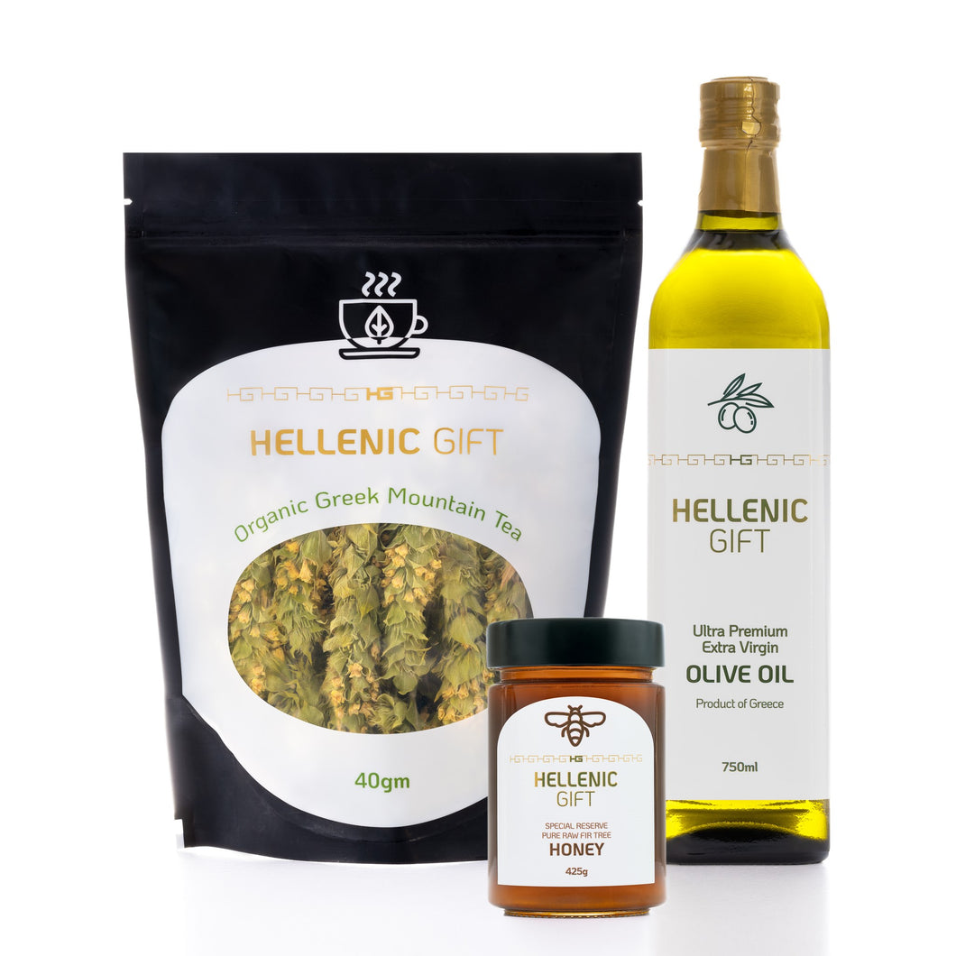 Hellenic Gift Sample Pack 2. Includes Olive Oil, Tea and Honey