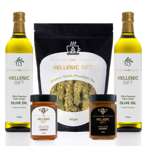 The Hellenic Gift Value Pack. 2 Olive Oil, 2 Honey and 1 Tea