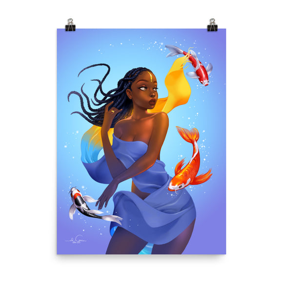PISCES Zodiac Illustration Poster Print by El Carna