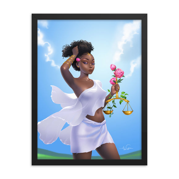 Framed LIBRA Zodiac Illustration Poster by El Carna