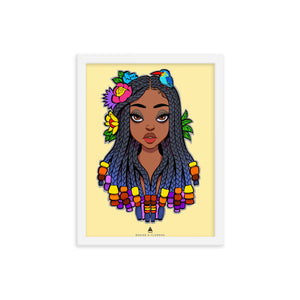 KAFFUL Braids & Flowers Framed Print Poster by El Carna