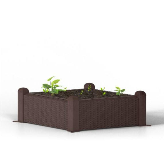 "Ogrow® Easy-To-Assemble 39"" Sqaure Wicker-Design Raised Garden Bed"