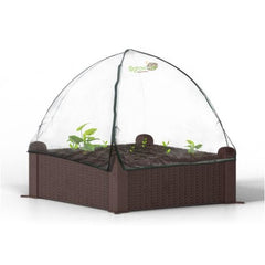 "Ogrow® Easy-To-Assemble 39"" Sqaure Wicker-Design Raised Garden Bed with Clear Zip-Up Canopy Cover"