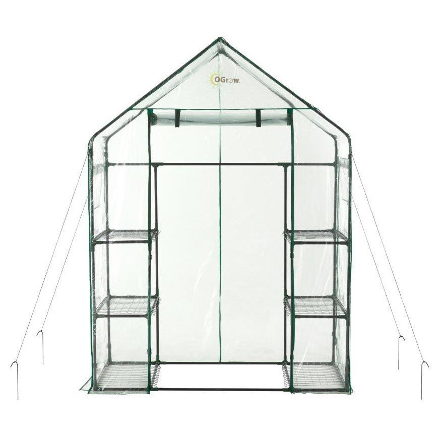 Ogrow® Deluxe Walk-In Greenhouse, 3 Tier, 6 Shelf -  Clear Cover