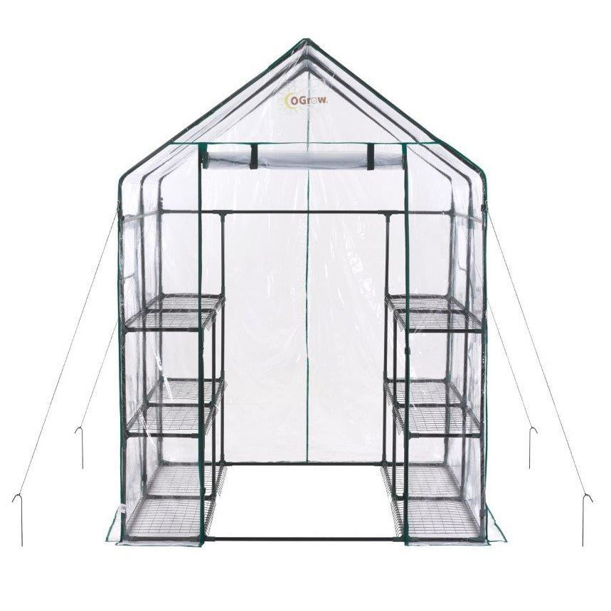 Ogrow® Deluxe Walk-In Greenhouse, 3 Tier, 12 Shelf - Clear Cover