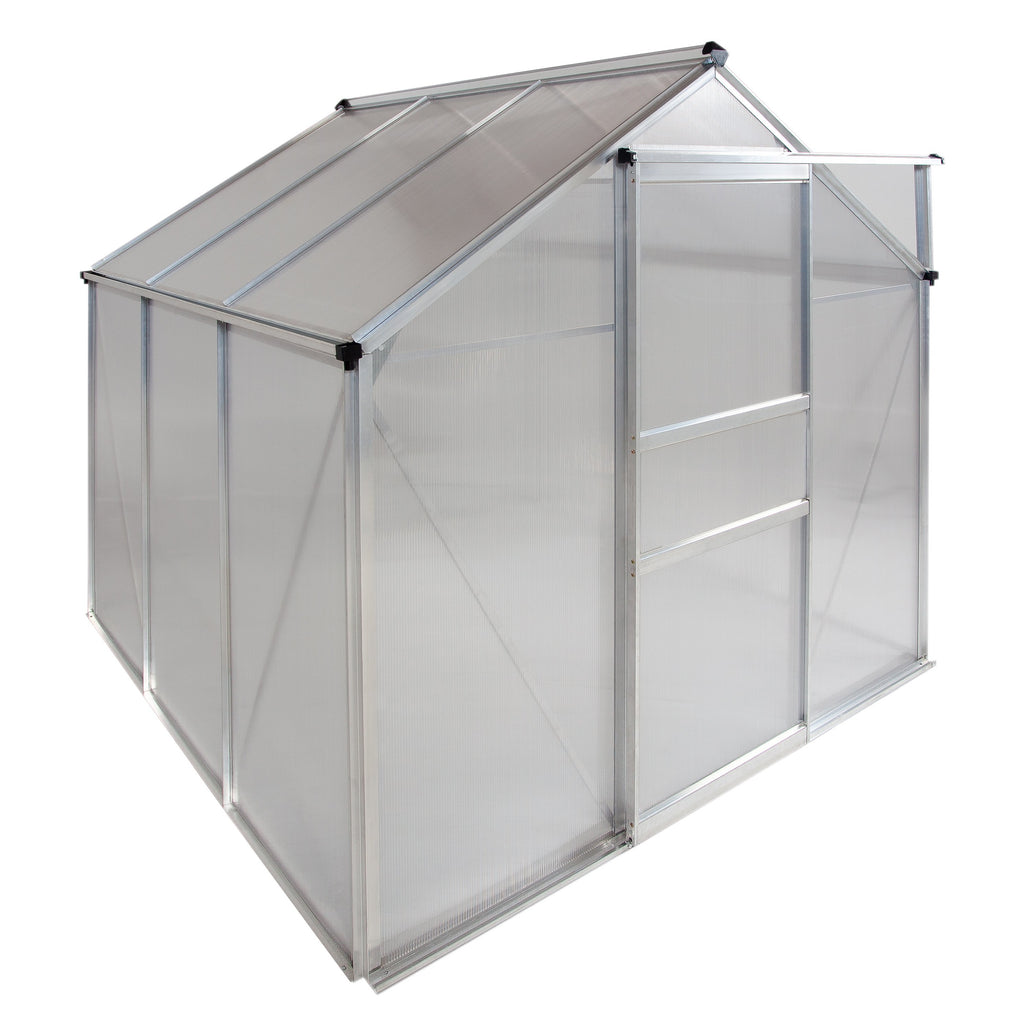 Ogrow® 6 x 6 FT Walk-In Greenhouse with Sliding Door and Adjustable Roof Vent, Heavy-Duty Aluminum Frame