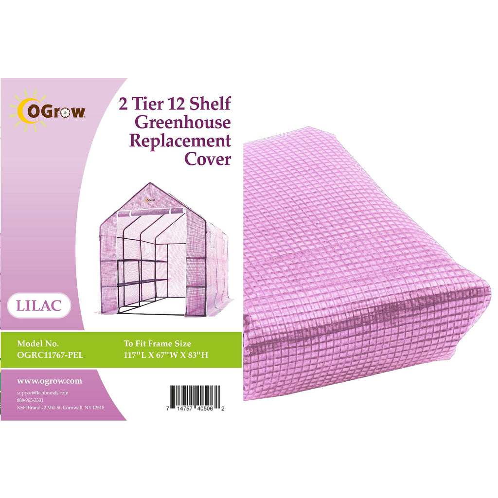 "Ogrow® Premium PE Greenhouse Replacement Cover, Lilac, Fits Frame 117""L x 67""W x 83'""H"