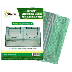 "Ogrow® Cloche  Premium PE Greenhouse Replacement Cover, Green, Fits Frame 47""L x 24""W x 24""H"