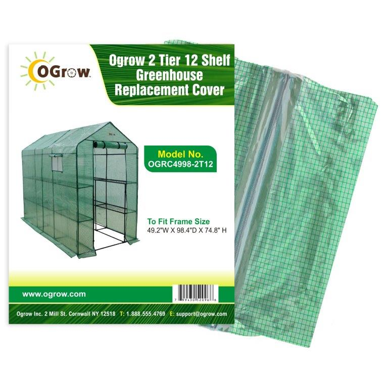 "Ogrow® Premium PE Greenhouse Replacement Cover, Green, Fits Frame 98""L x 49""W x 75""H"
