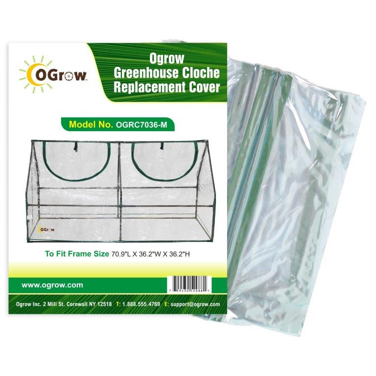 "Ogrow® Cloche Greenhouse Replacement Cover, Clear, Fits Frame 71""L x 36""W x 36""H"