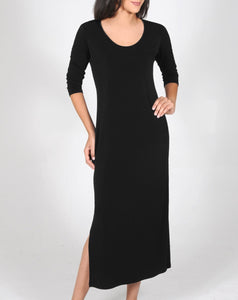 Long black dress with 3/4 Sleeves