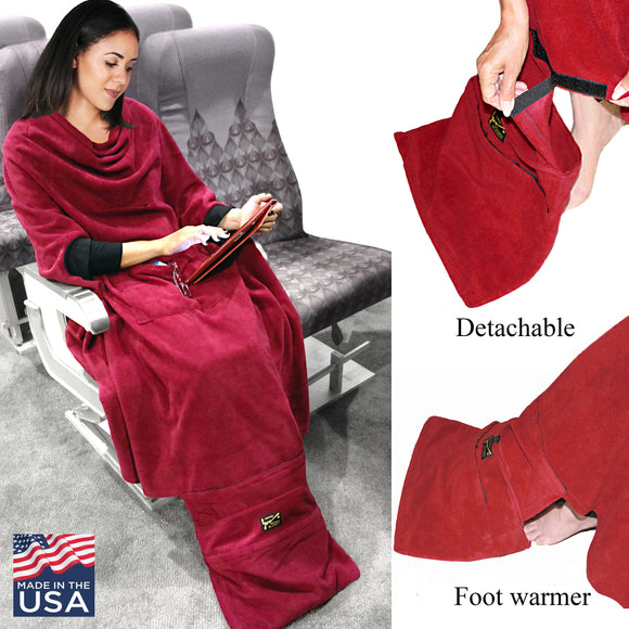 Women using Smart blanket in the airplane and Detachable foot warmer