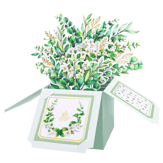 Greenery Floral Bouquet Pop Up Card