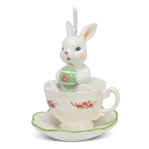 Rabbit In Teacup Ornament