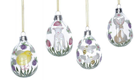 4 Assorted, Glass Egg Ornament