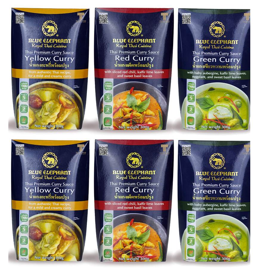 Blue Elephant Ready to Heat Green Curry Yellow Curry Red Curry Multi Pack