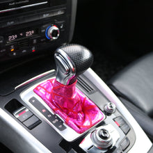 Load image into Gallery viewer, Love to Shift holographic hot pink custom shift boot cover for an automatic car shown in an Audi Q5 from a side angle view above.