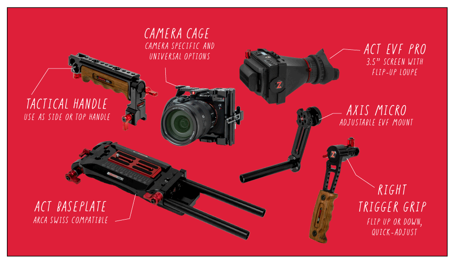all the parts that make up the zacuto act dslr shoulder rigs